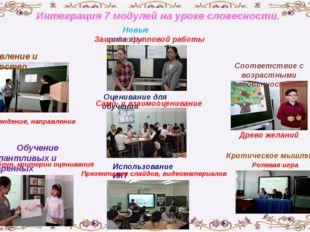 Интеграция 7 модулей на уроке словесности. Использование ИКТ Обучение талантл
