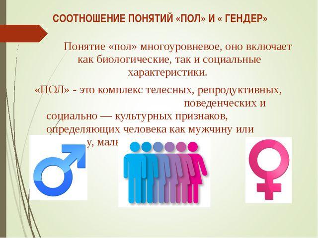 СООТНОШЕНИЕ ПОНЯТИЙ «ПОЛ» И « ГЕНДЕР» Понятие «пол» многоуровневое, оно включ...