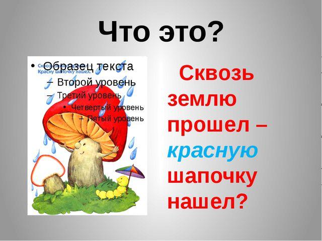 Что это? Сквозь землю прошел – красную шапочку нашел?