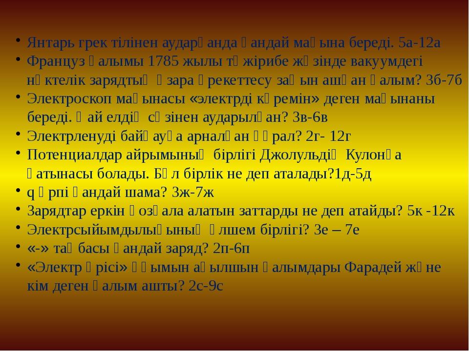 Янтарь грек тілінен аударғанда қандай мағына береді. 5а-12а Француз ғалымы 17...
