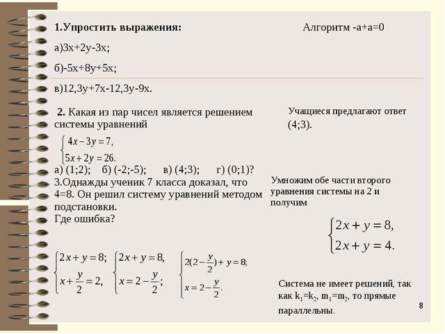 * Система не имеет решений, так как k1=k2, m1=m2, то прямые параллельны. Упро...