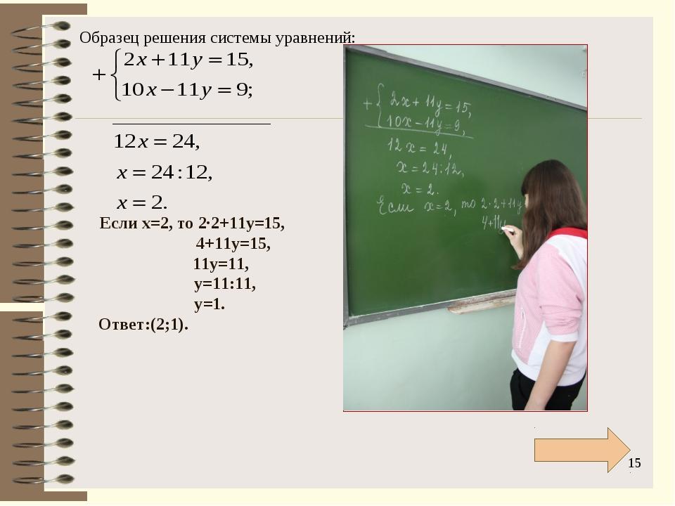 * Если х=2, то 2∙2+11у=15, 4+11у=15, 11у=11, у=11:11, у=1. Ответ:(2;1). Образ...
