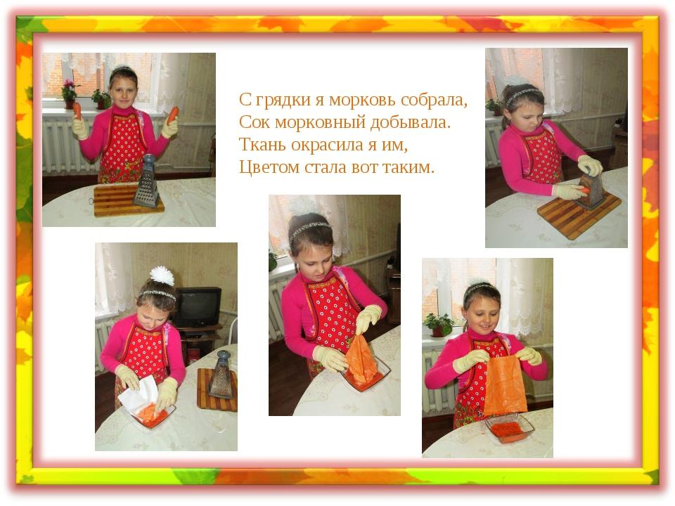 С грядки я морковь собрала, Сок морковный добывала. Ткань окрасила я им, Цвет...