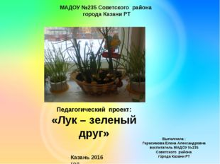Педагогический проект: «Лук – зеленый друг» Выполнила : Герасимова Елена Алек