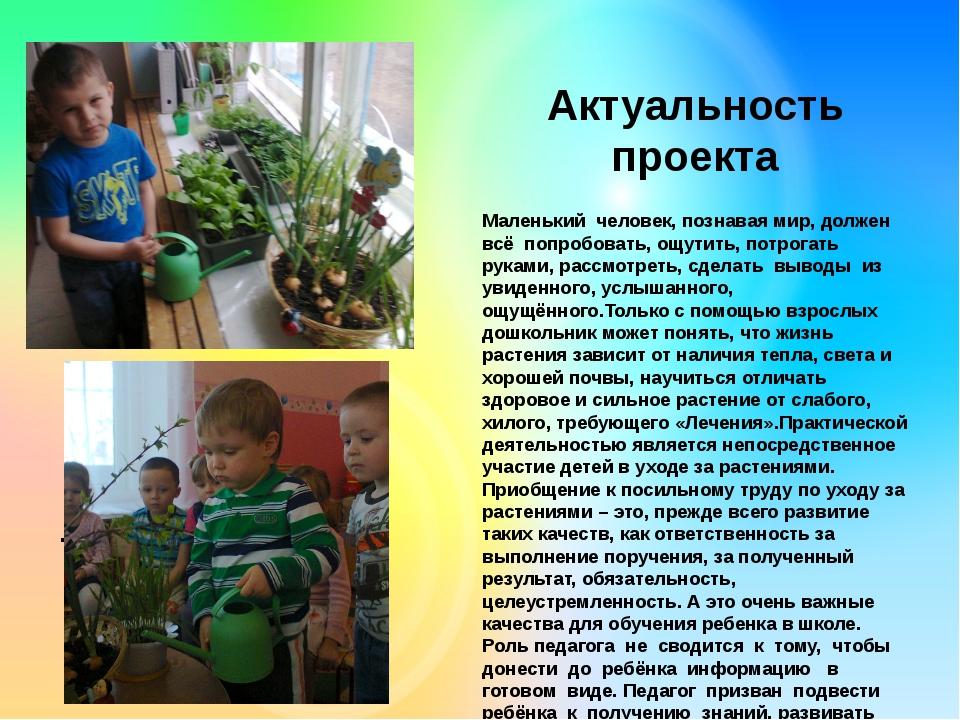 . Актуальность проекта Маленький человек, познавая мир, должен всё попробова...