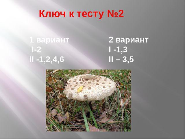 Ключ к тесту №2 1 вариант I-2 II -1,2,4,6 2 вариант I -1,3 II – 3,5