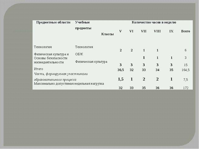 Предметные области Учебные предметы Классы Количество часов в неделю V VI VII...
