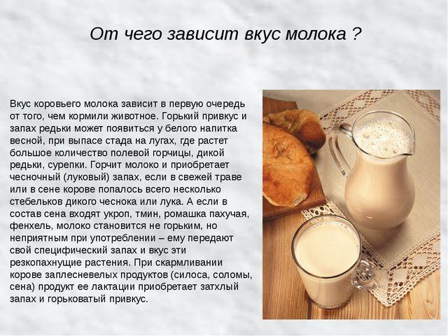 От чего зависит вкус молока ? Вкус коровьего молока зависит в первую очередь...