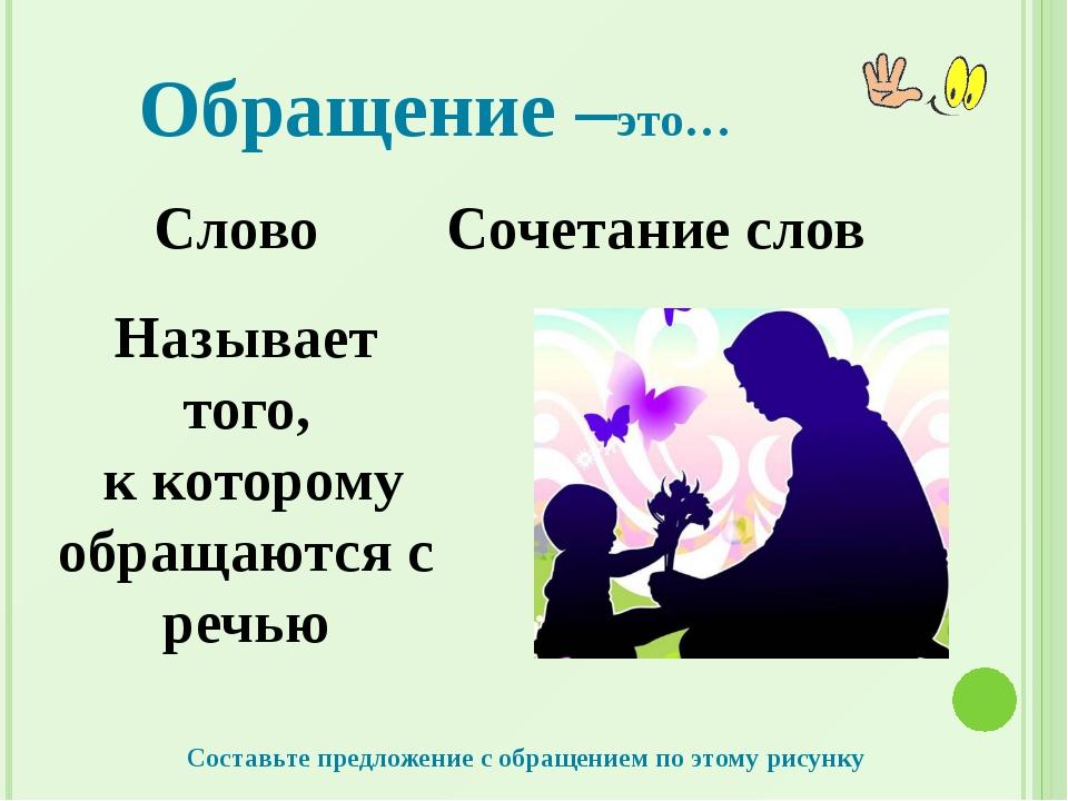 Обращение –это… Слово Сочетание слов Называет того, к которому обращаются с р...