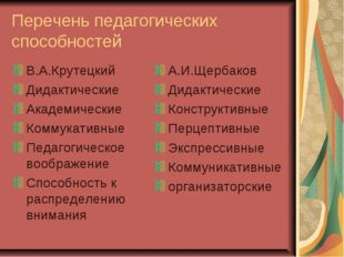 Перечень педагогических способностей В.А.Крутецкий Дидактические Академически