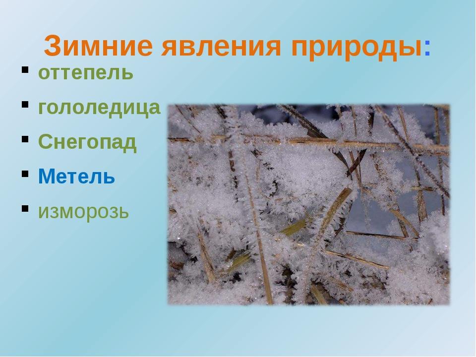 Зимние явления природы: оттепель гололедица Снегопад Метель изморозь