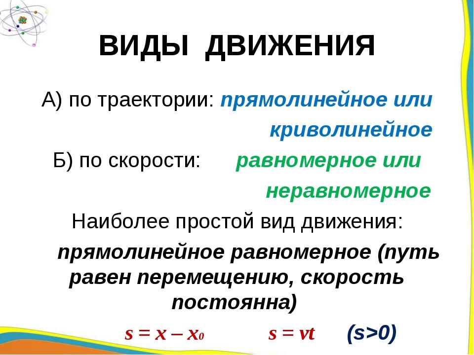 ВИДЫ ДВИЖЕНИЯ А) по траектории: прямолинейное или криволинейное Б) по скорост...