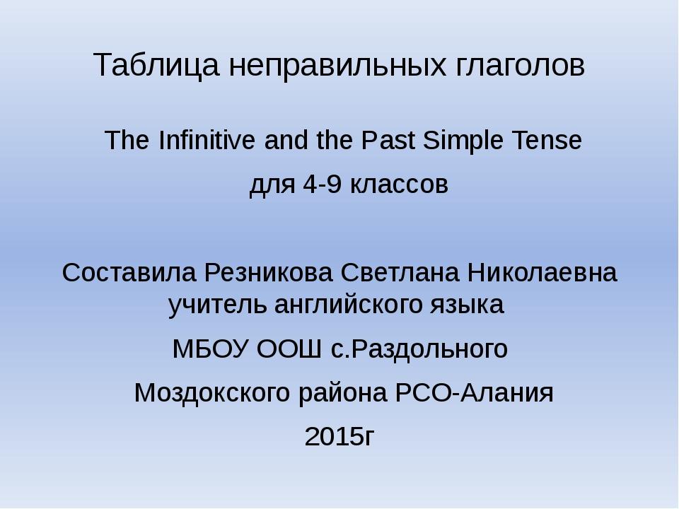 Таблица неправильных глаголов The Infinitive and the Past Simple Tense для 4-...