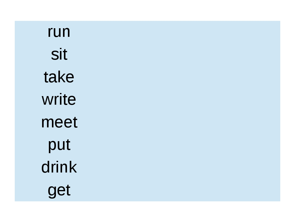run sit take write meet put drink get