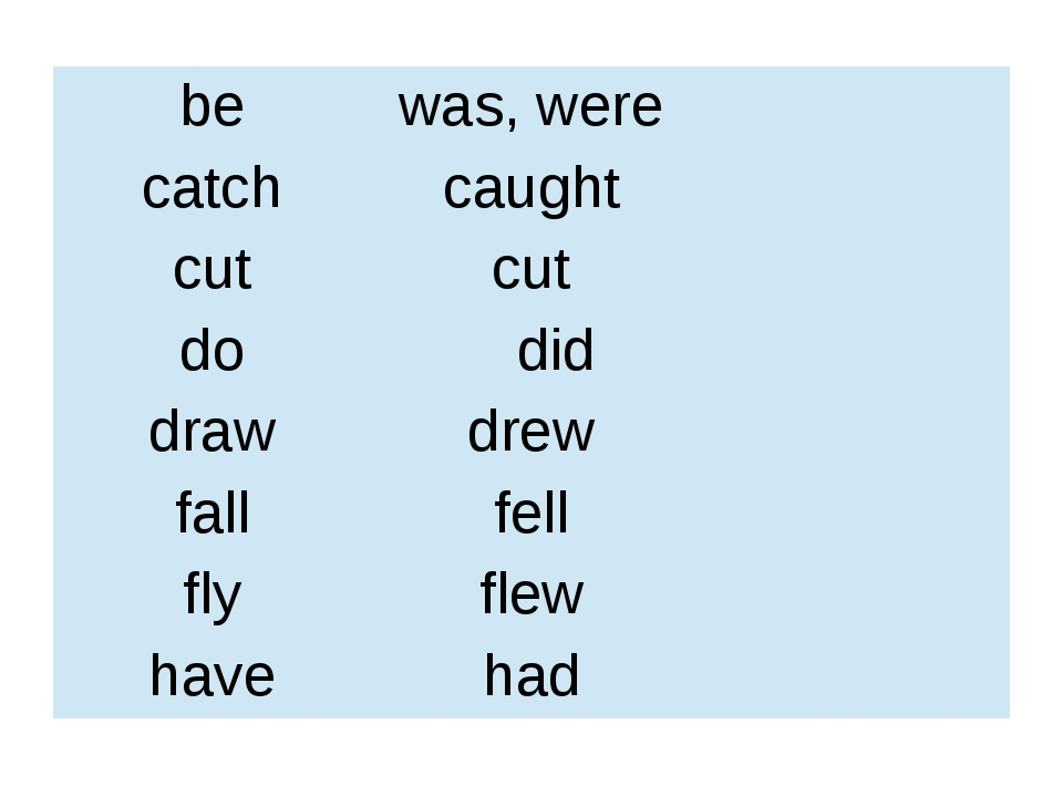 be was, were catch caught cut cut do did draw drew fall fell fly flew have had