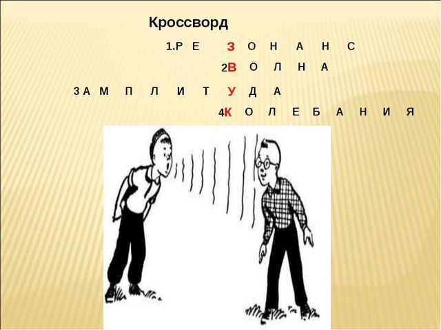 Кроссворд 1.РЕ ЗОНАНС 2ВОЛНА 4КОЛЕБАНИЯ 3 АМПЛИТ УДА