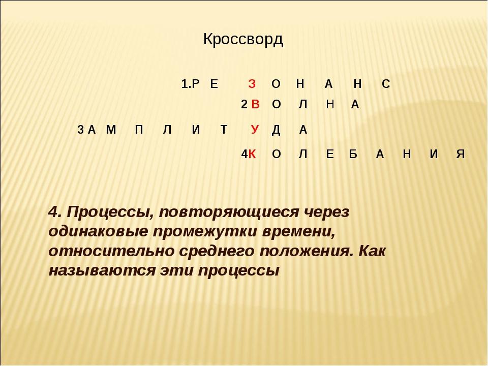 Кроссворд 4. Процессы, повторяющиеся через одинаковые промежутки времени, от...