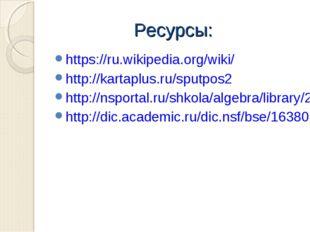Ресурсы: https://ru.wikipedia.org/wiki/ http://kartaplus.ru/sputpos2 http://n