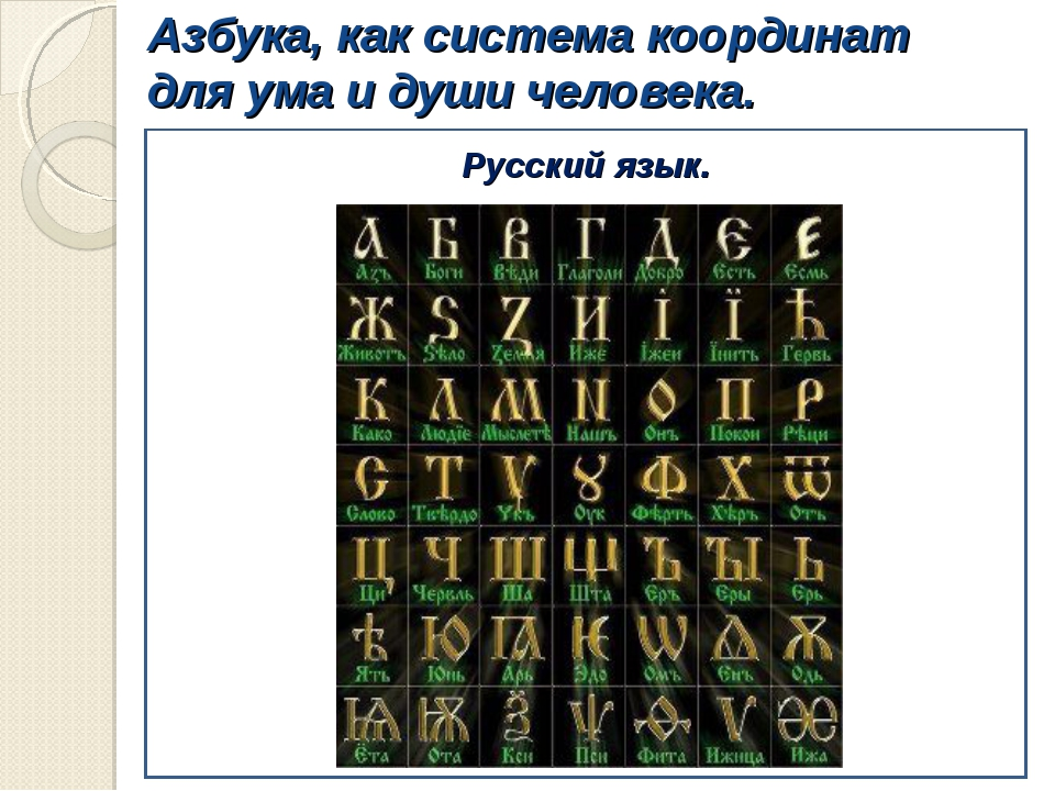 Азбука, как система координат для ума и души человека. Русский язык.