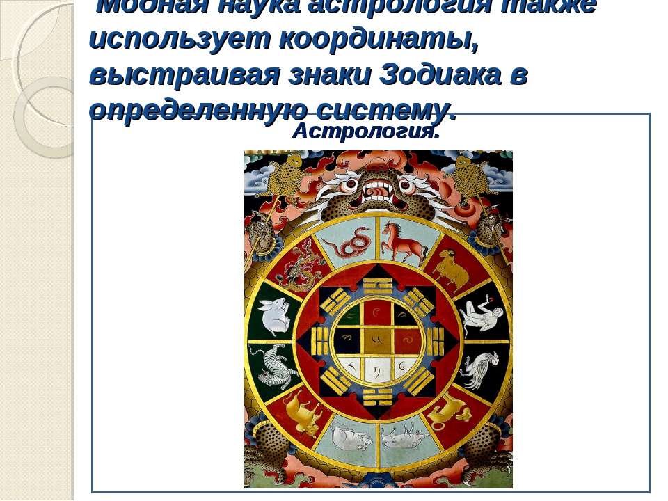 Модная наука астрология также использует координаты, выстраивая знаки Зодиак...