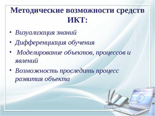 Методические возможности средств ИКТ: Визуализация знаний Дифференциация обуч...