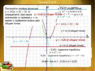 Пример 7 из 8 Построение: Ответ: 4 – наибольшее число общих точек