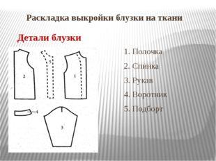 Раскладка выкройки блузки на ткани 1. Полочка 2. 2. Спинка 3. Рукав 4. Воротн