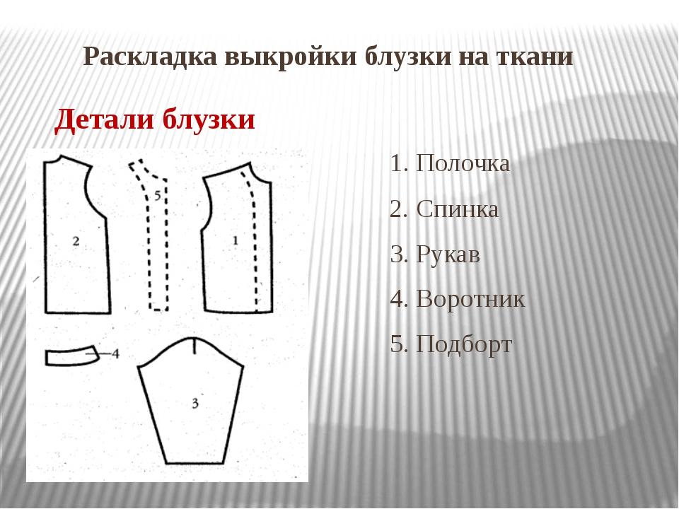 Раскладка выкройки блузки на ткани 1. Полочка 2. 2. Спинка 3. Рукав 4. Воротн...