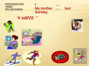 V ed/V2 I … My mother … last Sunday. …