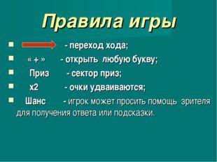 Правила игры - переход хода; « + » - открыть любую букву; Приз - сектор приз;