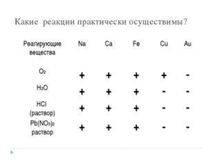Какие реакции практически осуществимы? Реагирующие веществаNaCaFeCuAu О2