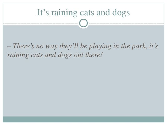 It's raining cats and dogs – There's no way they'll be playing in the park, i...