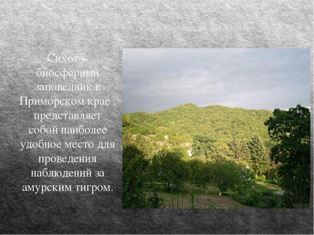 Сихотэ-Алинский заповедник Сихотэ-биосферный заповедник в Приморском крае , п...