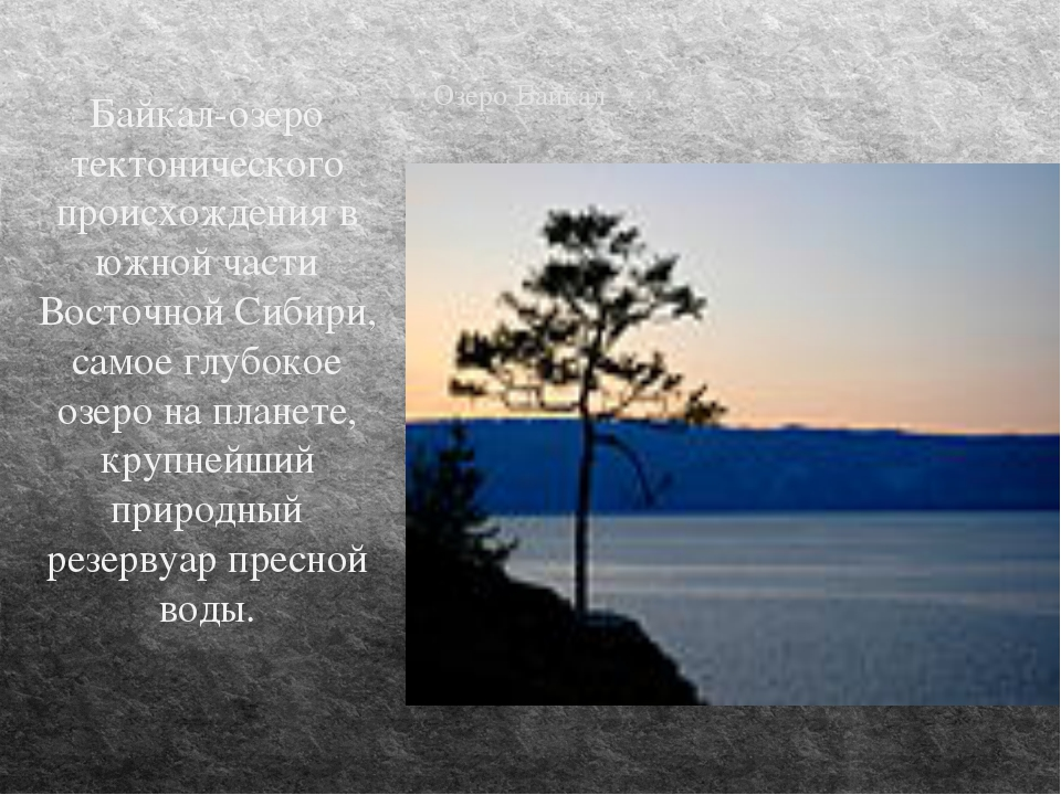 Озеро Байкал Байкал-озеро тектонического происхождения в южной части Восточно...