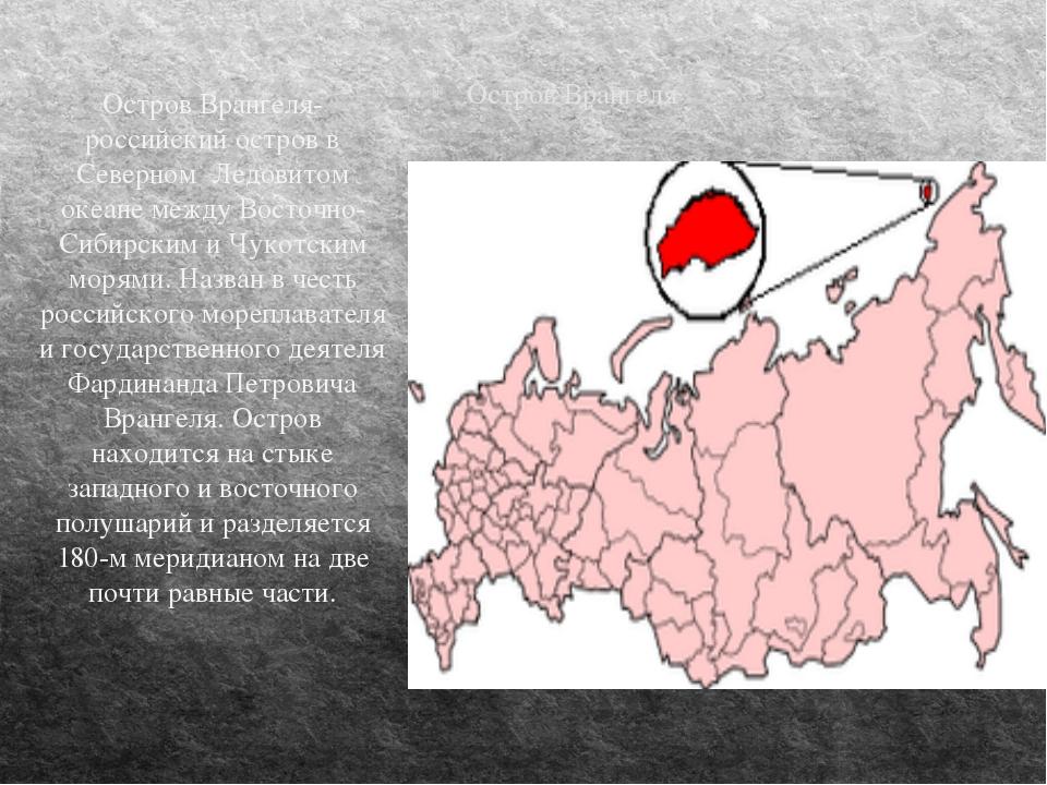 Остров Врангеля Остров Врангеля-российский остров в Северном Ледовитом океане...