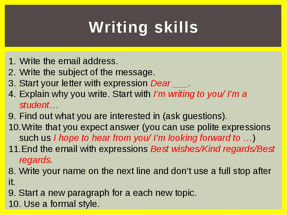 Writing skills Write the email address. Write the subject of the message. Sta...