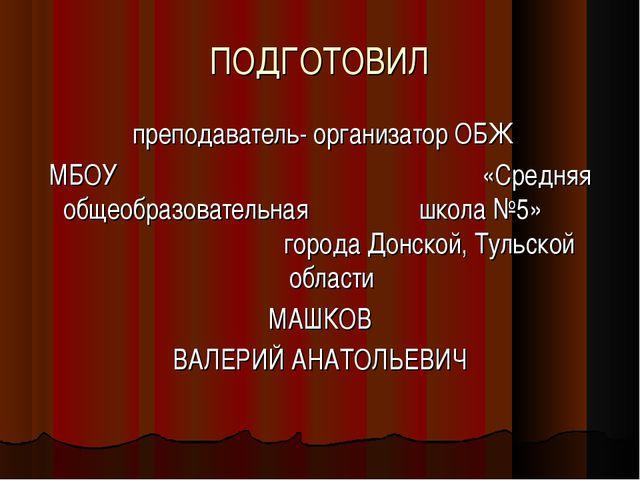 ПОДГОТОВИЛ преподаватель- организатор ОБЖ МБОУ «Средняя общеобразовательная ш...