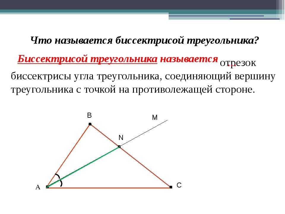 Что называется биссектрисой треугольника? отрезок биссектрисы угла треугольни...