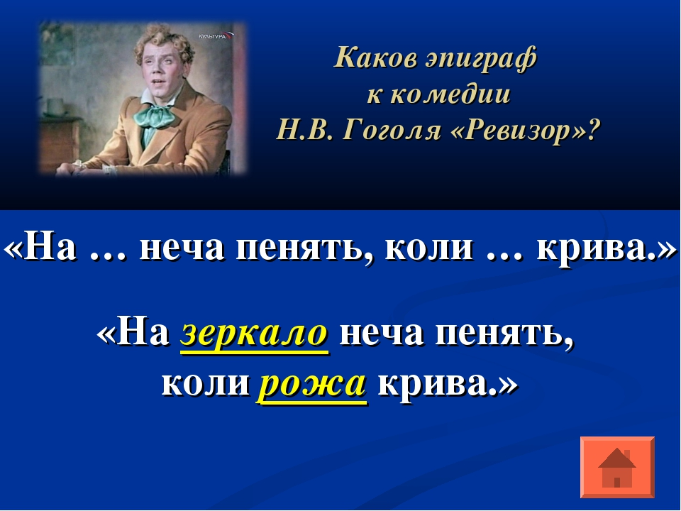 Каков эпиграф к комедии Н.В. Гоголя «Ревизор»? «На … неча пенять, коли … крив...