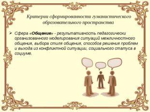 Сфера «Общение» - результативность педагогически организованного моделировани