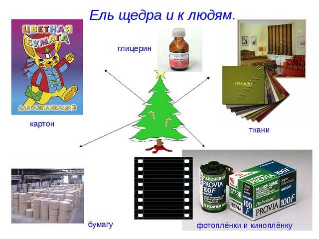 Ель щедра и к людям. бумагу ткани фотоплёнки и киноплёнку картон глицерин