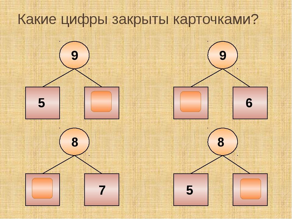 Какие цифры закрыты карточками? 9 5 4 9 3 6 8 1 7 8 5 3