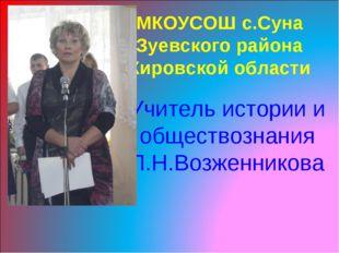 МКОУСОШ с.Суна Зуевского района Кировской области Учитель истории и обществоз