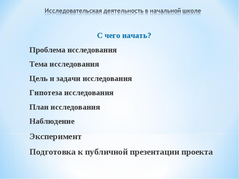 С чего начать? Проблема исследования Тема исследования Цель и задачи исследов...