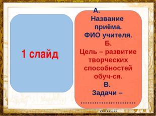 Название презентации 1 слайд А. Название приёма. ФИО учителя. Б. Цель – разви