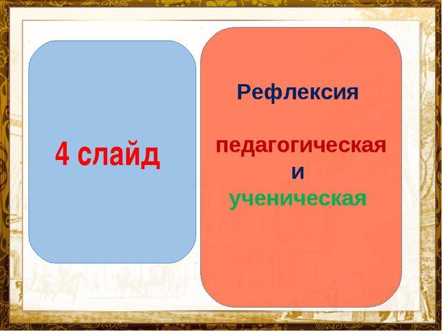 Название презентации 4 слайд Рефлексия педагогическая и ученическая
