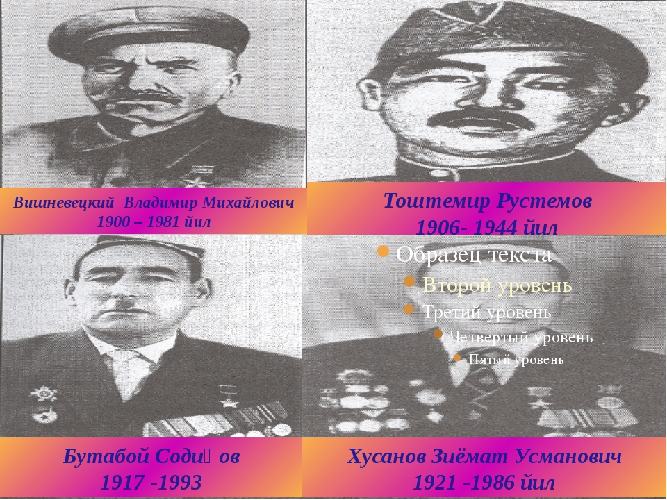 Тоштемир Рустемов 1906- 1944 йил Вишневецкий Владимир Михайлович 1900 – 1981...