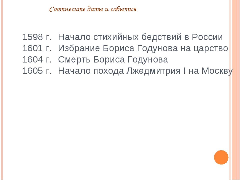 Соотнесите даты и события Начало стихийных бедствий в России Избрание Бориса...