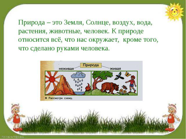 Природа – это Земля, Солнце, воздух, вода, растения, животные, человек. К при...