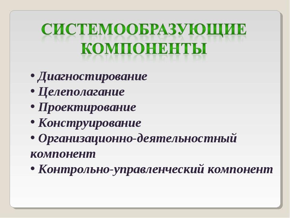 Диагностирование Целеполагание Проектирование Конструирование Организационно...